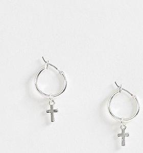 ce2f07ba345d6 silver diamante cross link hoop earrings - Shop silver diamante ...