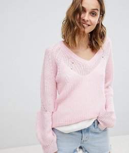 Read more about Vero moda v neck jumper with balloon sleeve - rose shadow