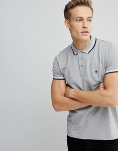 Read more about French connection tipped pique polo shirt - light grey mel
