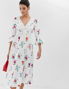 Read more about Asos design lattice back embroidered midi dress with fluted sleeve