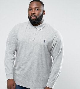 Read more about Ppolo ralph lauren big tall long sleeve polo shirt in light grey - andover heather