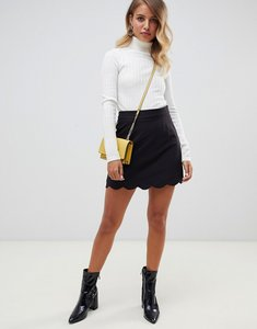 Read more about Asos design tailored a-line mini skirt with scallop hem - black