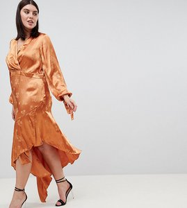 Read more about Asos design curve soft floral jacquard midi dress with asymmetric hem - rust