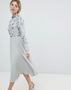 Read more about Asos floral embellished bodice long sleeve midi skater dress - grey