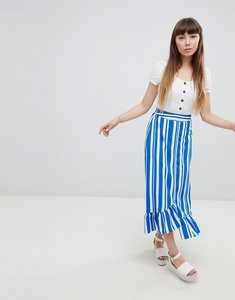 Read more about New look frill hem stripe skirt - multi