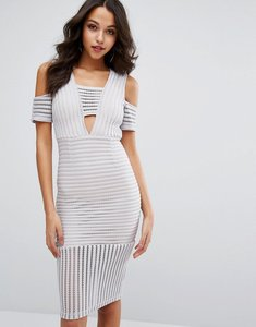 Read more about Missguided cold shoulder mesh insert dress - grey
