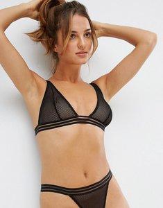 Read more about Asos legit fishnet elastic triangle bra - black