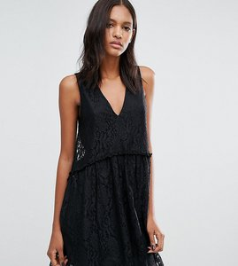 Read more about Asos tall lace smock dress - black