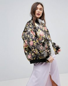 Read more about Free people floral jacquard oversized bomber jacket - black combo
