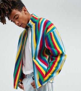 Read more about Reclaimed vintage inspired zip thru jacket in stripe fleece - blue