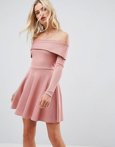 Read more about Asos premium heavy rib bardot skater dress - dusky pink