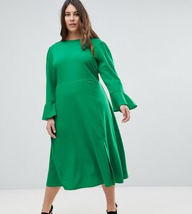 Read more about Asos curve fluted sleeve midi dress with split - green