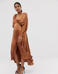 Read more about Asos edition ruched batwing midi dress in satin
