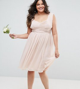 Read more about Asos curve wedding midi dress with ruched panel - nude