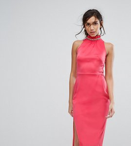 Read more about Silver bloom high neck midi dress with embellished neck - dark coral
