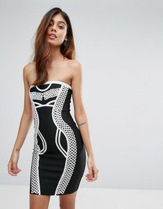 Read more about Love other things contrast bandage bodycon dress - black
