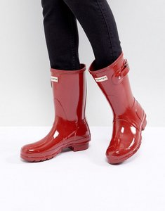 Read more about Hunter original short gloss military red ankle boots - military red