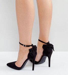 Read more about New look bow back pointed heeled shoes - black