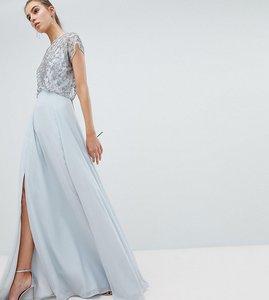 Read more about Asos design tall bridesmaid delicate beaded bodice maxi dress - grey