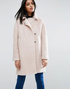 Read more about Asos oversized cocoon coat with funnel neck in wool mix and boucle texture - pink