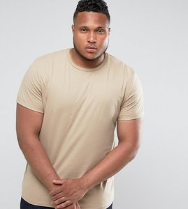 Read more about Asos plus t-shirt with crew neck and roll sleeve in beige - barley