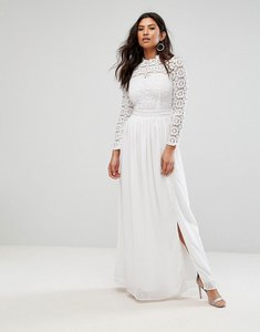Read more about Club l high neck crochet maxi dress - ivory