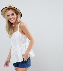 Read more about Asos design petite smock cami in cotton - ivory
