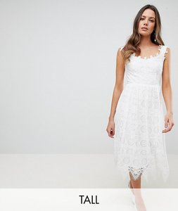 Read more about Y a s tall delicate lace midi dress - white