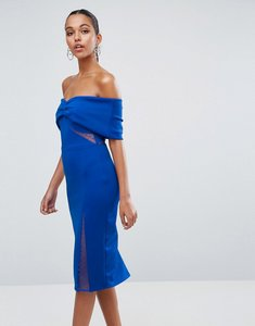 Read more about Asos bardot dobby mesh cut out midi bodycon dress - cobalt