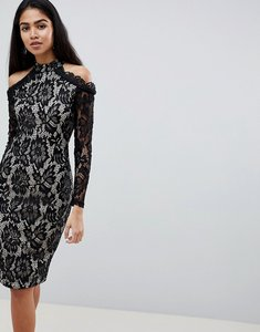 Read more about Ax paris long sleeve lace pencil dress with cold shoulder - multi