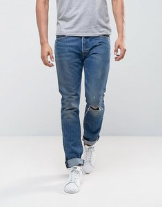 Read more about Levis 501 skinny fizzy mid blue wash knee rip - fizzy