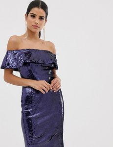 Read more about Tfnc tall off shoulder sequin bandeau midi dress - navy