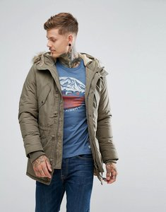Read more about Jack jones vintage parka with faux fur and borg lined hood - sea turtle