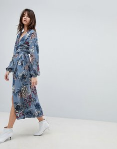 Read more about Gestuz floral printed wrap midi kimono dress - light blue flower