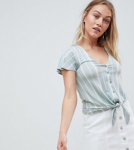 Read more about New look petite stripe button through top - green