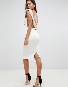 Read more about Asos deep plunge pearl back midi dress - ivory