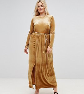 Read more about Club l plus tie front wrap detail maxi dress - mustard