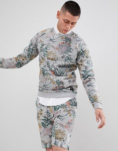 Read more about Only sons sweatshirt with all over floral print - light grey melange
