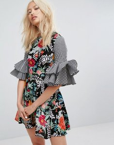 Read more about House of holland satin floral and ginham flared sleeve dress - multi