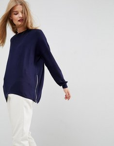 Read more about Asos jumper in cashmere mix with zip sides - navy