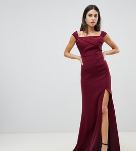 Read more about Yaura off shoulder thigh split maxi dress in maroon