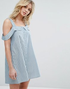 Read more about Influence button through cold shoulder dress - blue stripe
