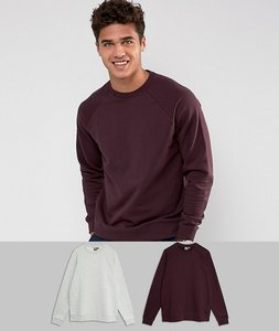 Read more about Asos sweatshirt 2 pack grey marl burgundy save - grey marl oxblood