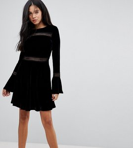 Read more about Kiss the sky tall velvet mini skater dress with lace panels - black