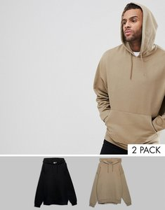 Read more about Asos oversized hoodie multipack in black and beige - black tawny