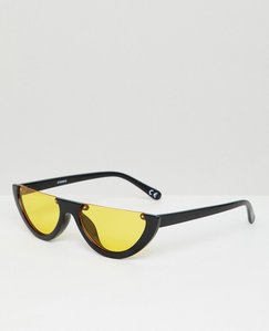 d197d6359f Read more about Asos design flat brow oval sunglasses with orange lens -  black