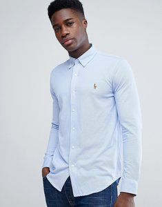 Read more about Polo ralph lauren slim fit stretch pique shirt with multi player in blue - blue