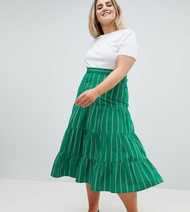 Read more about Asos design curve tiered cotton midi skirt in green stripe - green stripe