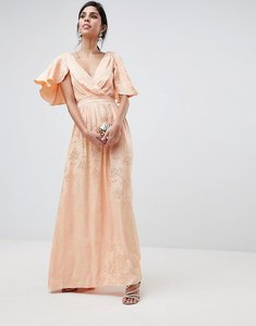 Read more about Asos design soft jacquard maxi dress with flutter sleeve - apricot