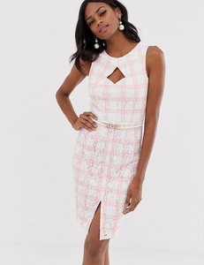 Read more about Paper dolls midi pencil dress with belt in pink check
